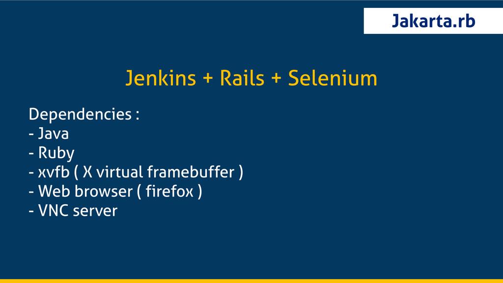 Jakarta.rb Dependencies : - Java - Ruby - xvfb ...