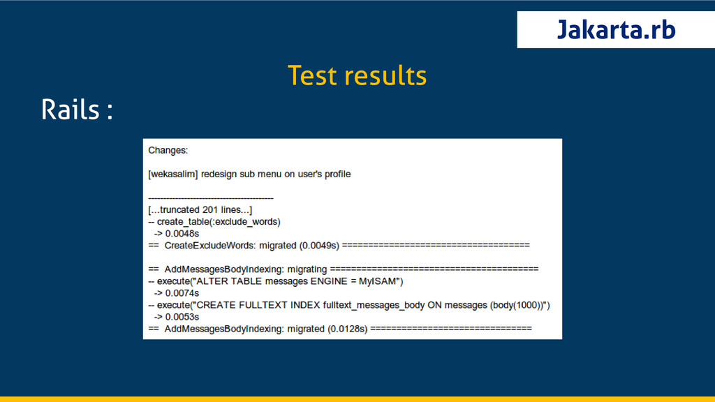Jakarta.rb Rails : Test results