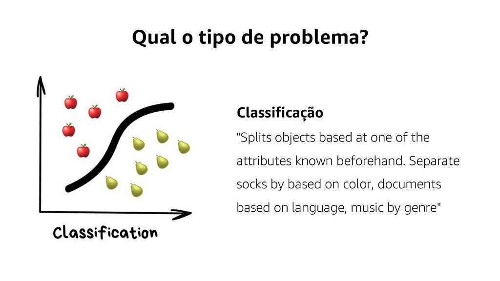 """Qual o tipo de problema? Classificação """"Splits ..."""