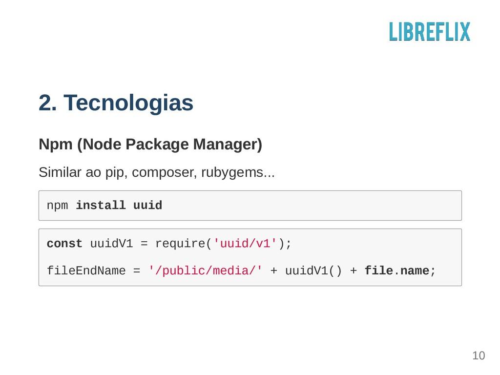 2. Tecnologias Npm (Node Package Manager) Simil...