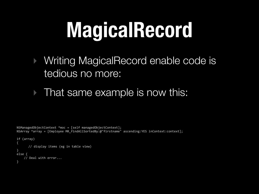 MagicalRecord ‣ Writing MagicalRecord enable co...