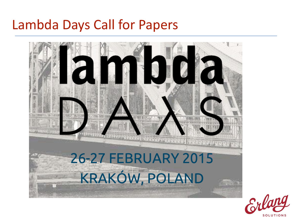 Lambda Days Call for Papers