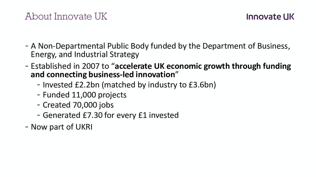 About Innovate UK - A Non-Departmental Public B...