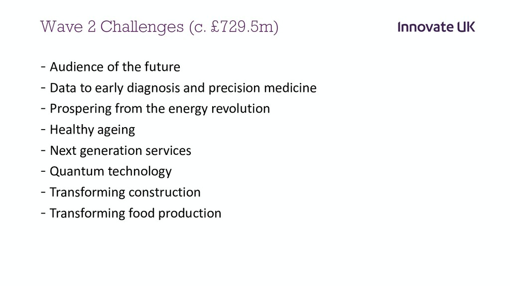 Wave 2 Challenges (c. £729.5m) - Audience of th...