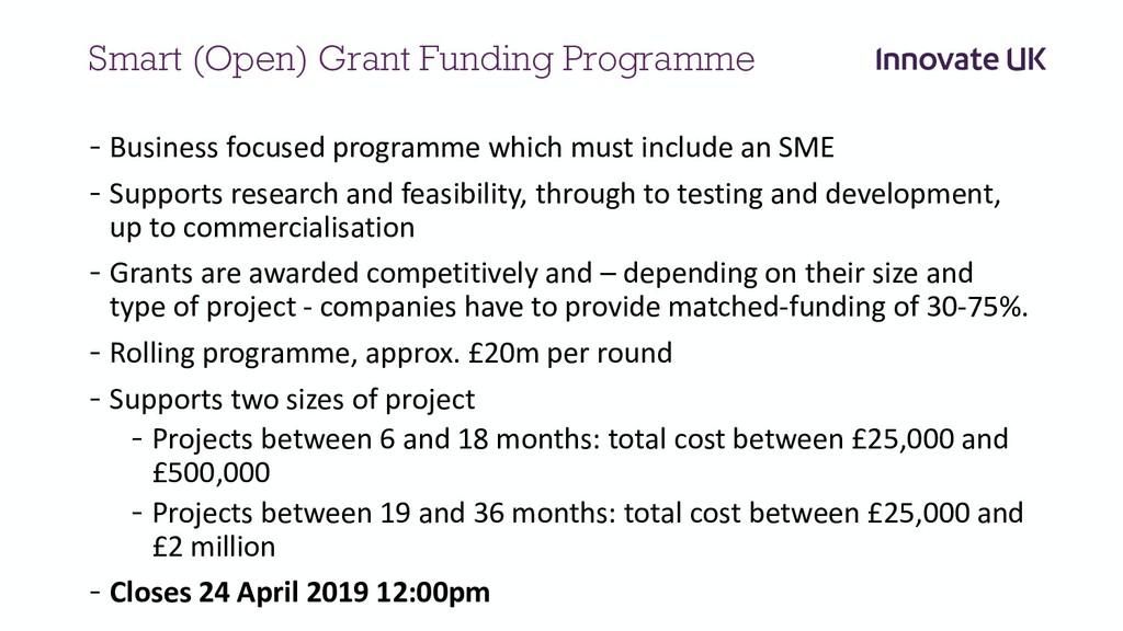 Smart (Open) Grant Funding Programme - Business...