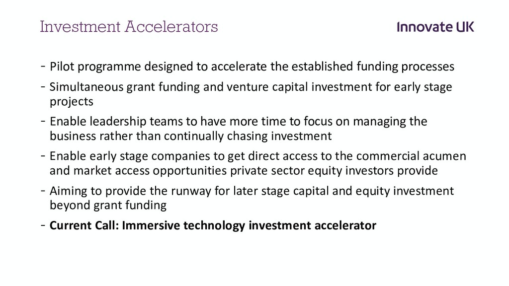 Investment Accelerators - Pilot programme desig...
