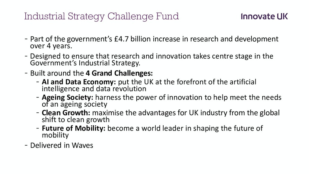 Industrial Strategy Challenge Fund - Part of th...