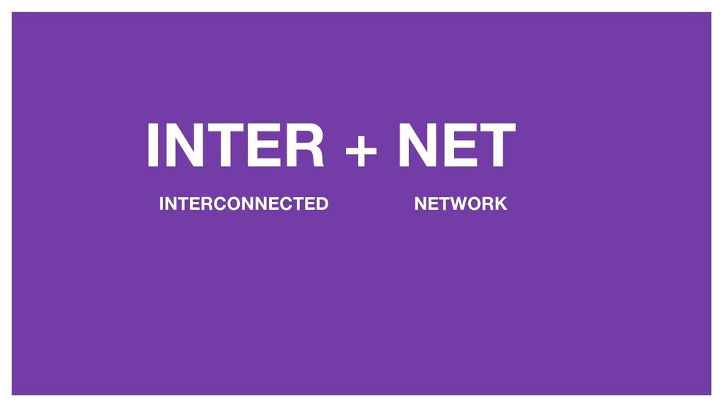 INTER + NET INTERCONNECTED NETWORK