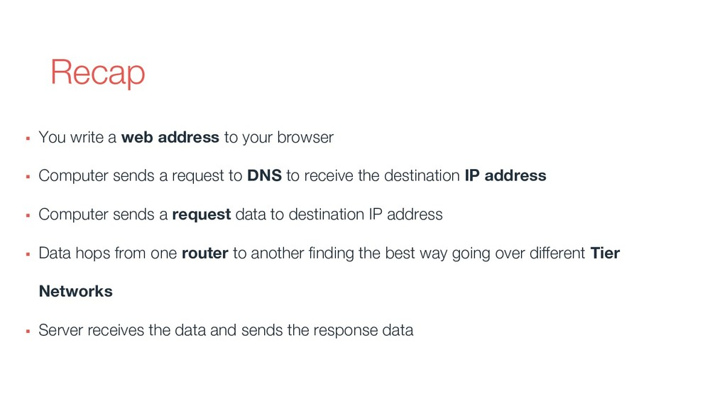 Recap ▪ You write a web address to your browser...