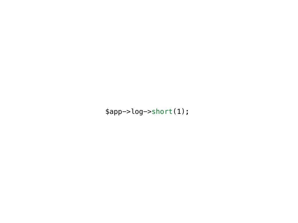 $app->log->short(1);