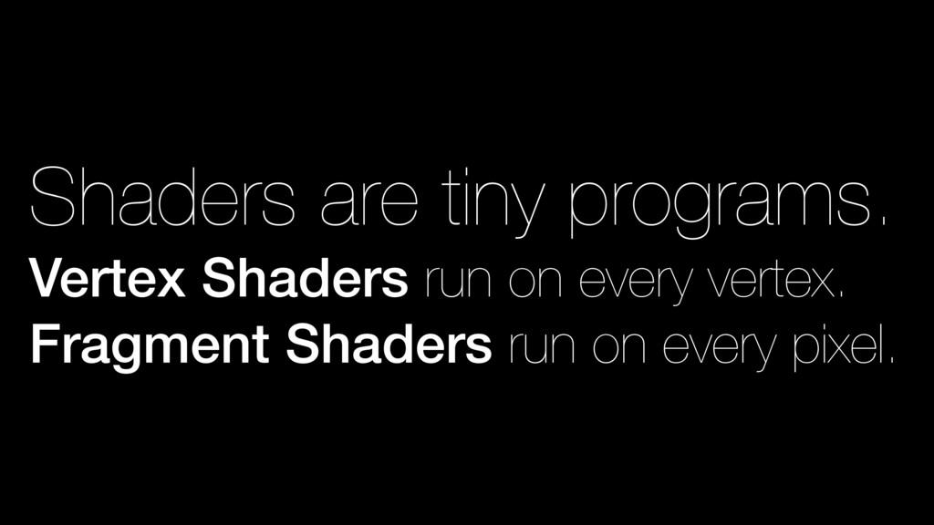 Shaders are tiny programs. Vertex Shaders run o...
