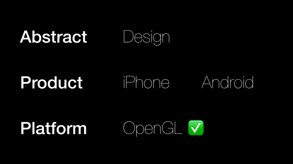 iPhone Android Product OpenGL Platform ✅ Abstra...