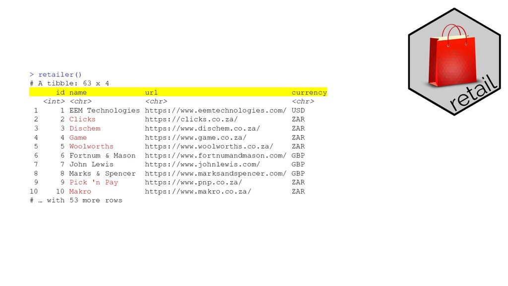 > retailer() # A tibble: 63 x 4 id name url cur...