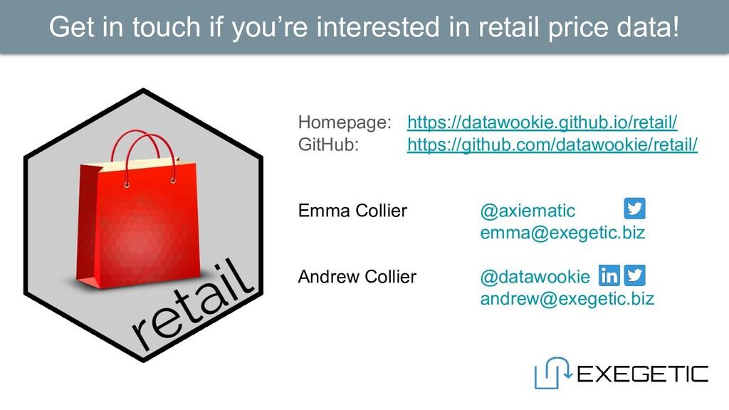 Homepage: https://datawookie.github.io/retail/ ...
