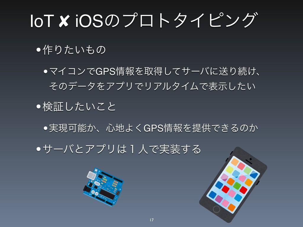IoT ✘ iOSͷϓϩτλΠϐϯά •࡞Γ͍ͨͷ •ϚΠίϯͰGPSใΛऔಘͯ͠αʔόʹ...