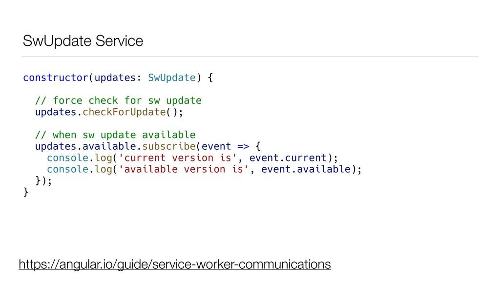 SwUpdate Service constructor(updates: SwUpdate)...