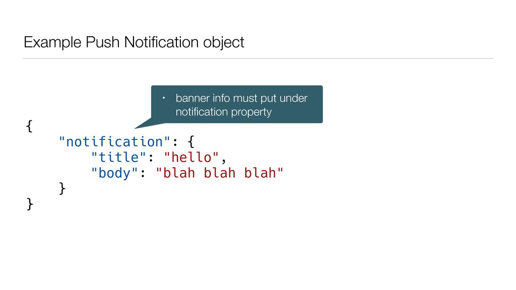 "Example Push Notification object { ""notification..."
