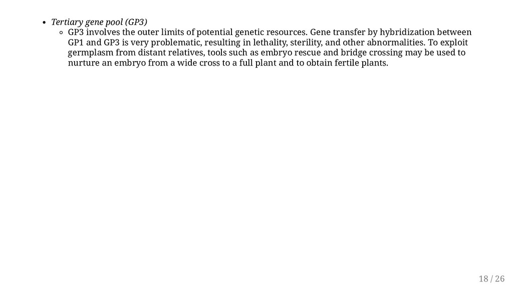 Tertiary gene pool (GP3) GP3 involves the outer...