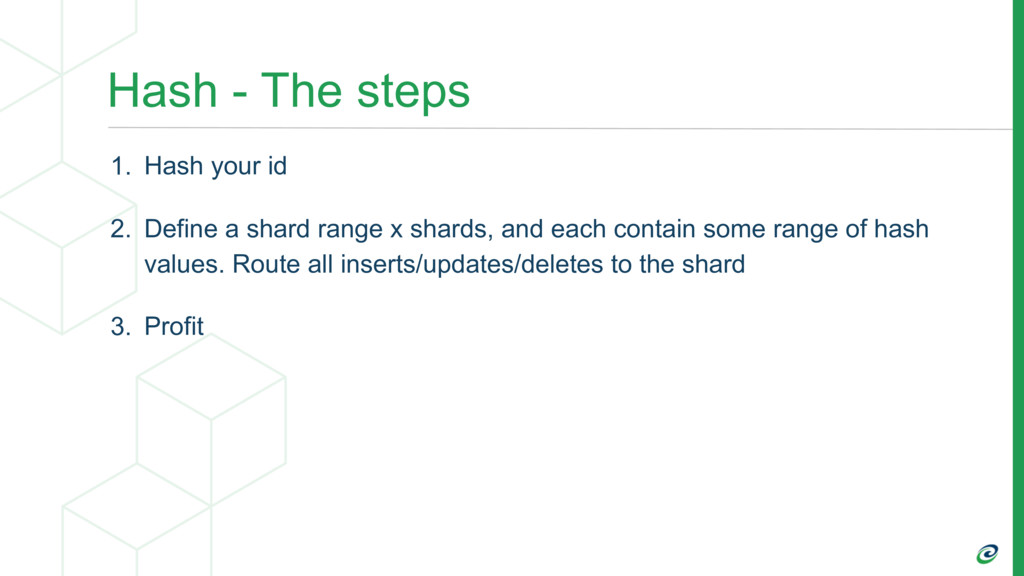 Hash - The steps 1. Hash your id 2. Define a sh...