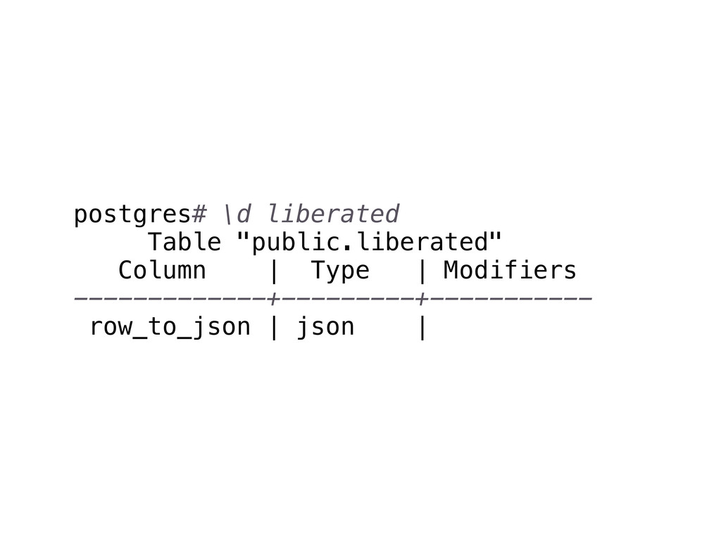 "postgres# \d liberated Table ""public.liberated""..."