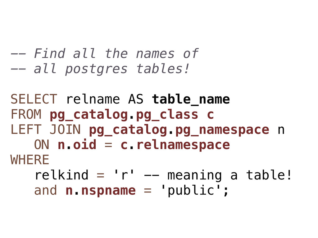 -- Find all the names of -- all postgres tables...