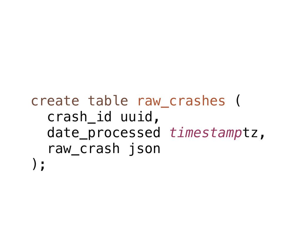 create table raw_crashes ( crash_id uuid, date_...
