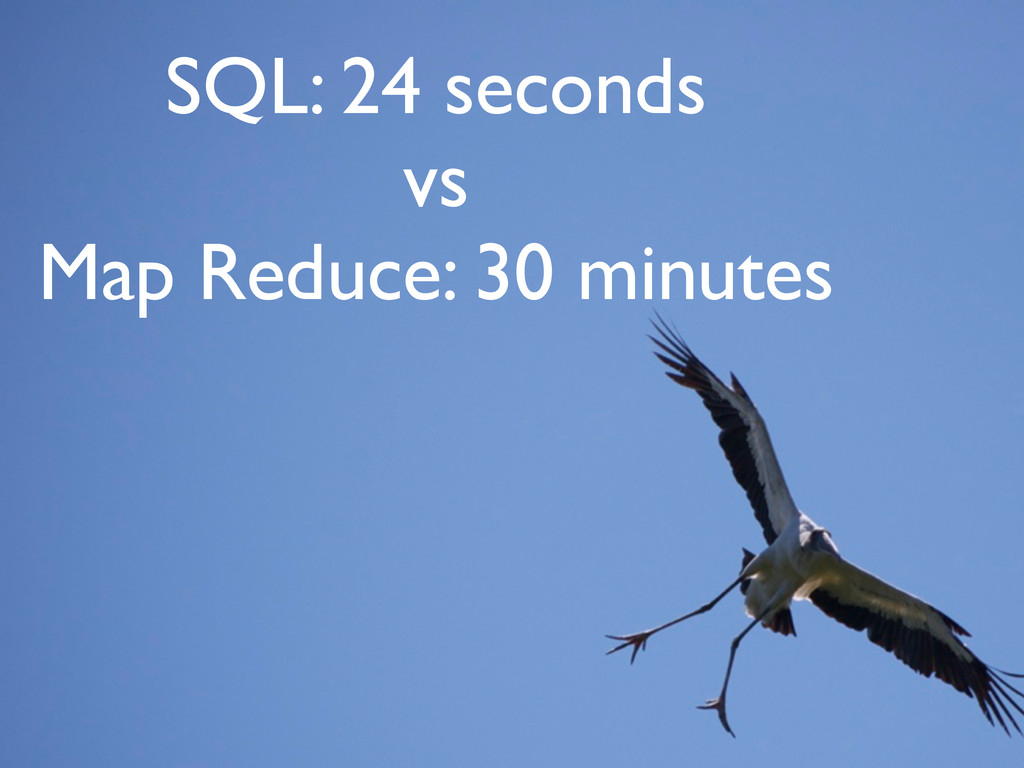 SQL: 24 seconds vs Map Reduce: 30 minutes