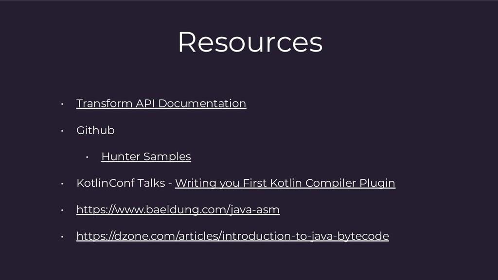 Resources • Transform API Documentation • Githu...