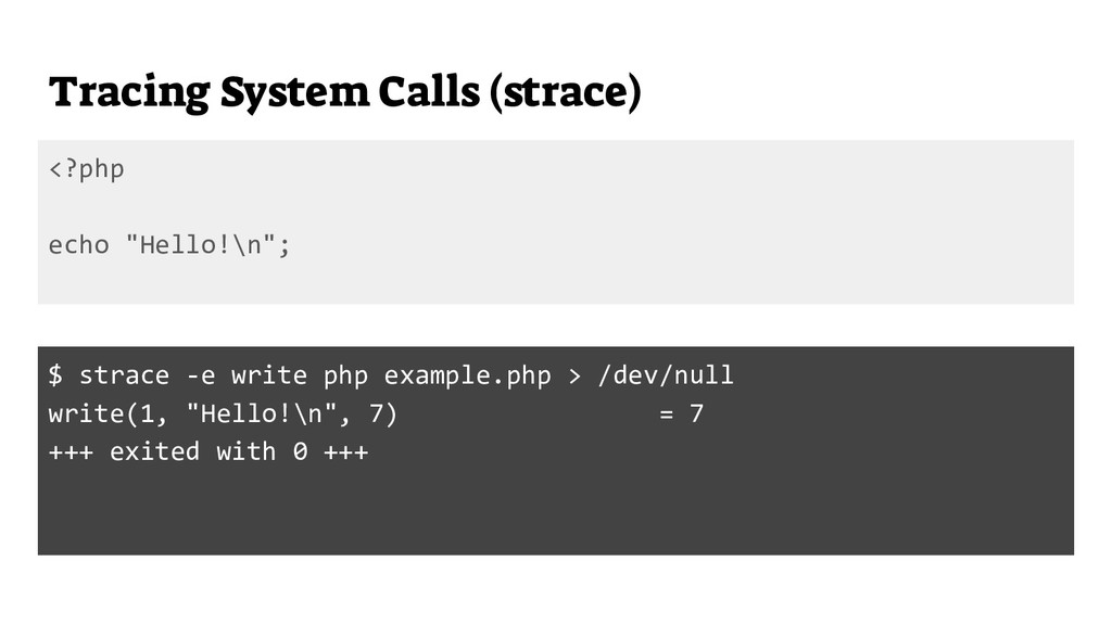 """Tracing System Calls (strace) <?php echo """"Hello..."""