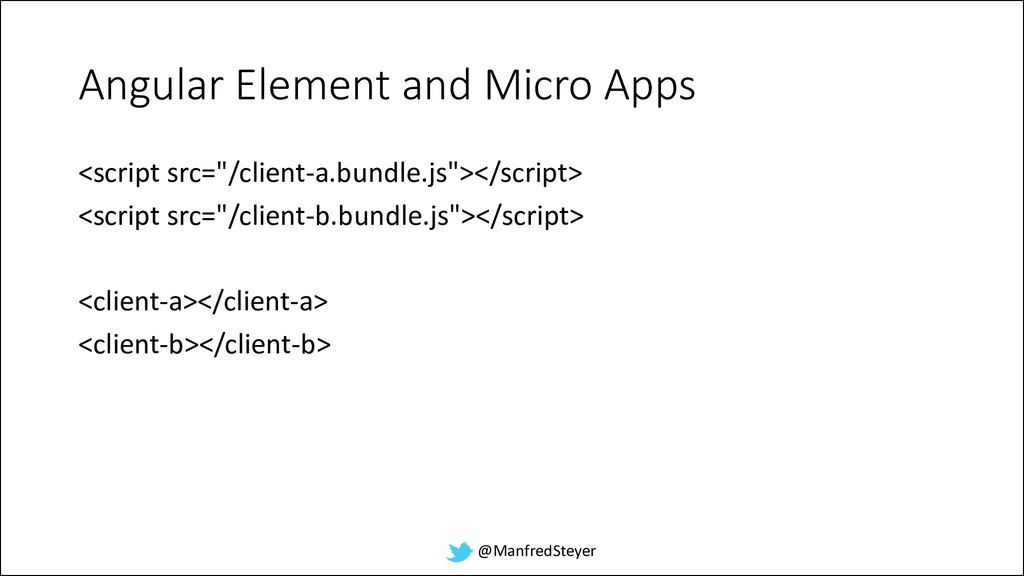 @ManfredSteyer Angular Element and Micro Apps <...