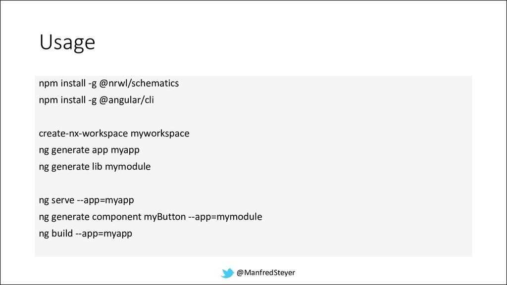 @ManfredSteyer Usage npm install -g @nrwl/schem...