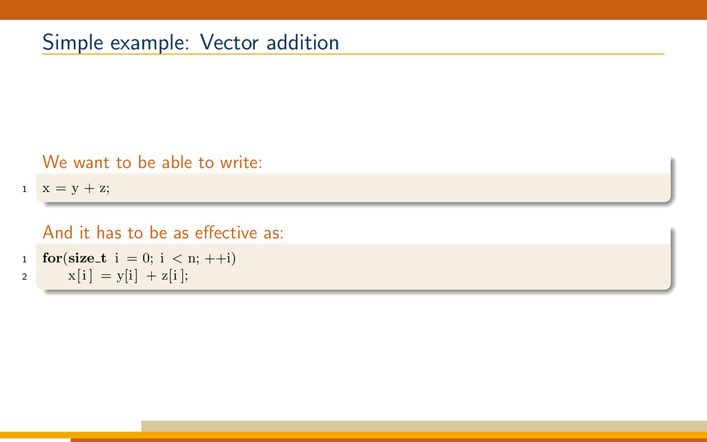 Simple example: Vector addition We want to be a...