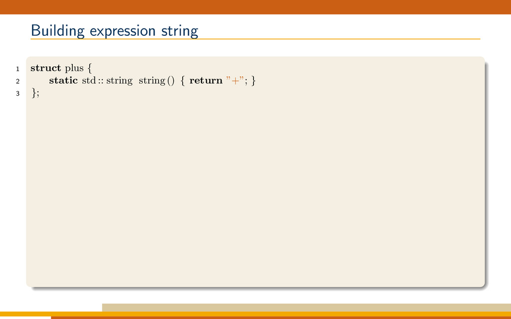 Building expression string 1 struct plus { 2 st...
