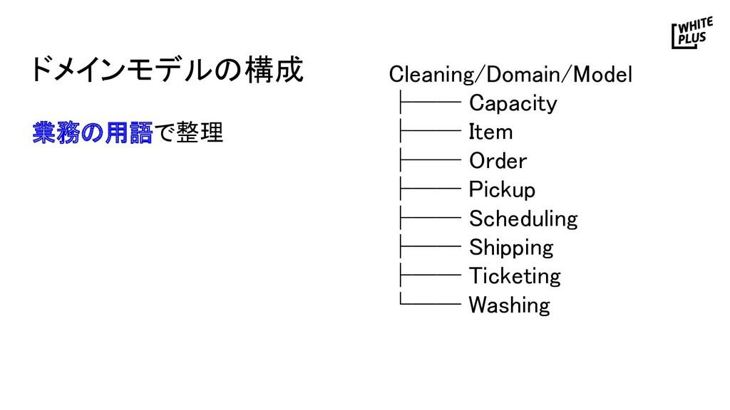 ドメインモデルの構成 Cleaning/Domain/Model ├── Capacity...