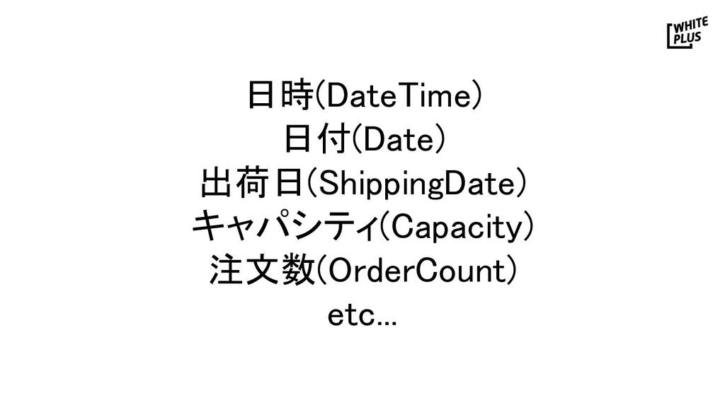 日時(DateTime) 日付(Date) 出荷日(ShippingDate) キャパシ...