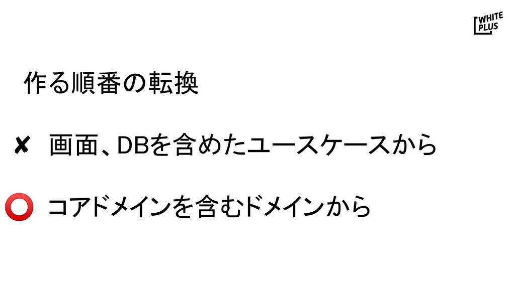作る順番の転換  ✘ 画面、DBを含めたユースケースから  ⭕ コアドメインを含むドメ...