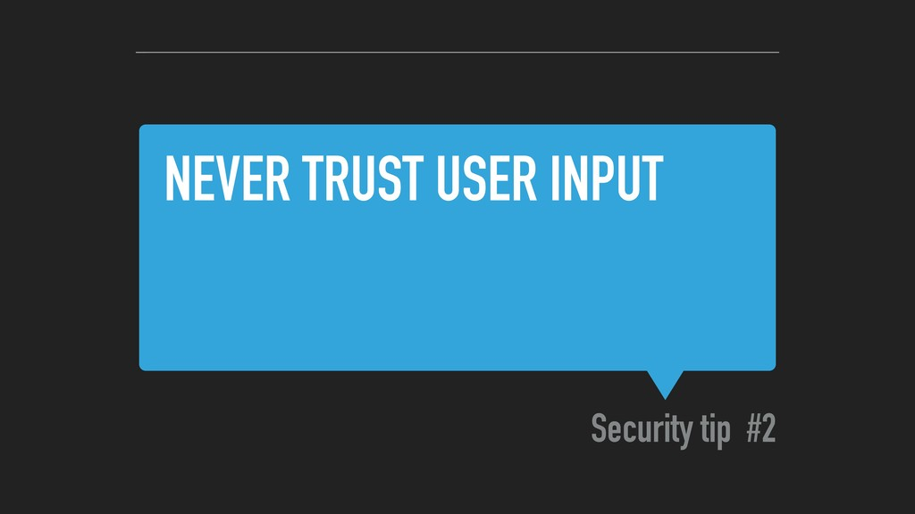 NEVER TRUST USER INPUT Security tip #2