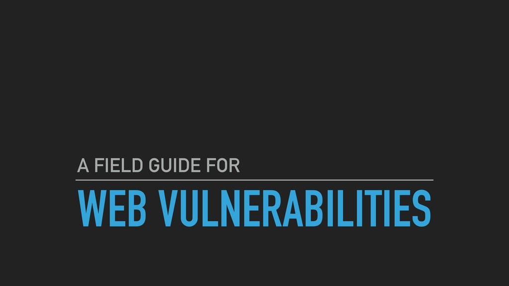 WEB VULNERABILITIES A FIELD GUIDE FOR