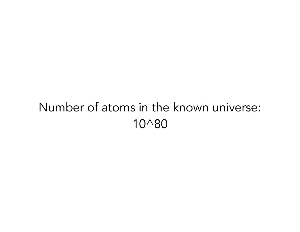 Number of atoms in the known universe: 10^80