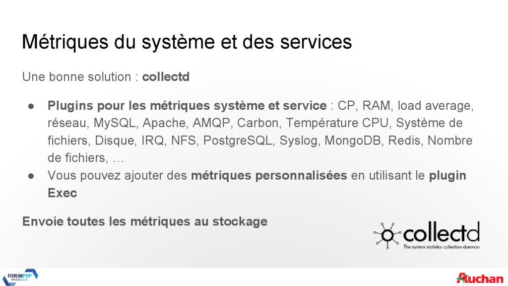 Métriques du système et des services Une bonne ...
