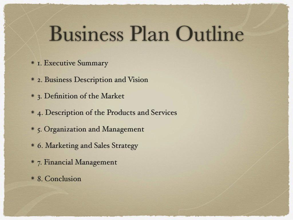 Business Plan Outline 1. Executive Summary 2. B...