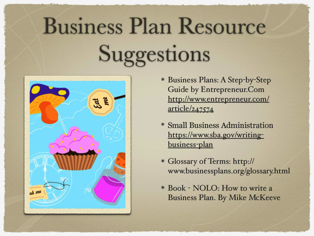 Business Plan Resource Suggestions Business Pla...