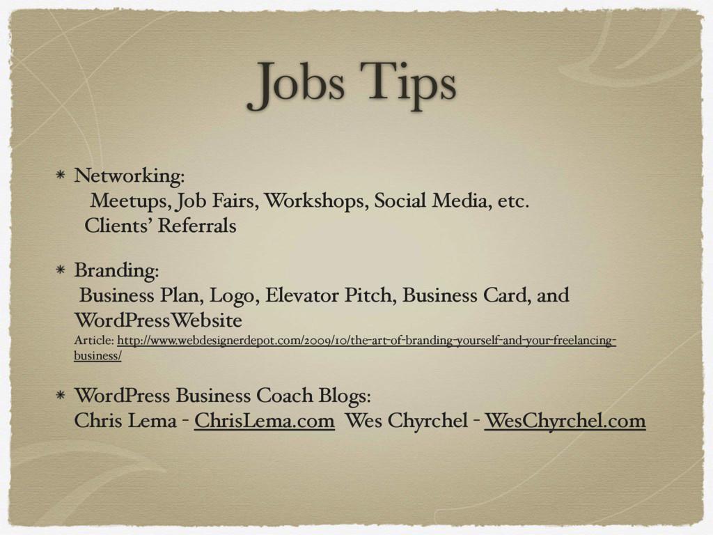 Jobs Tips Networking: Meetups, Job Fairs, Work...
