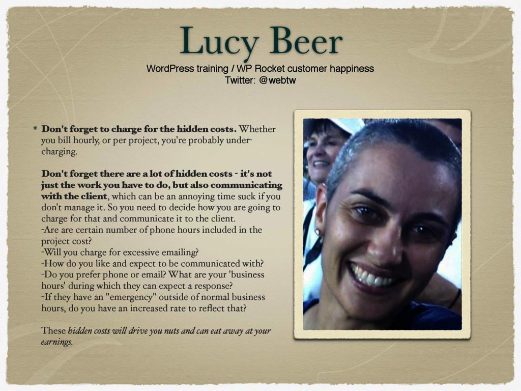 Lucy Beer WordPress training / WP Rocket custom...