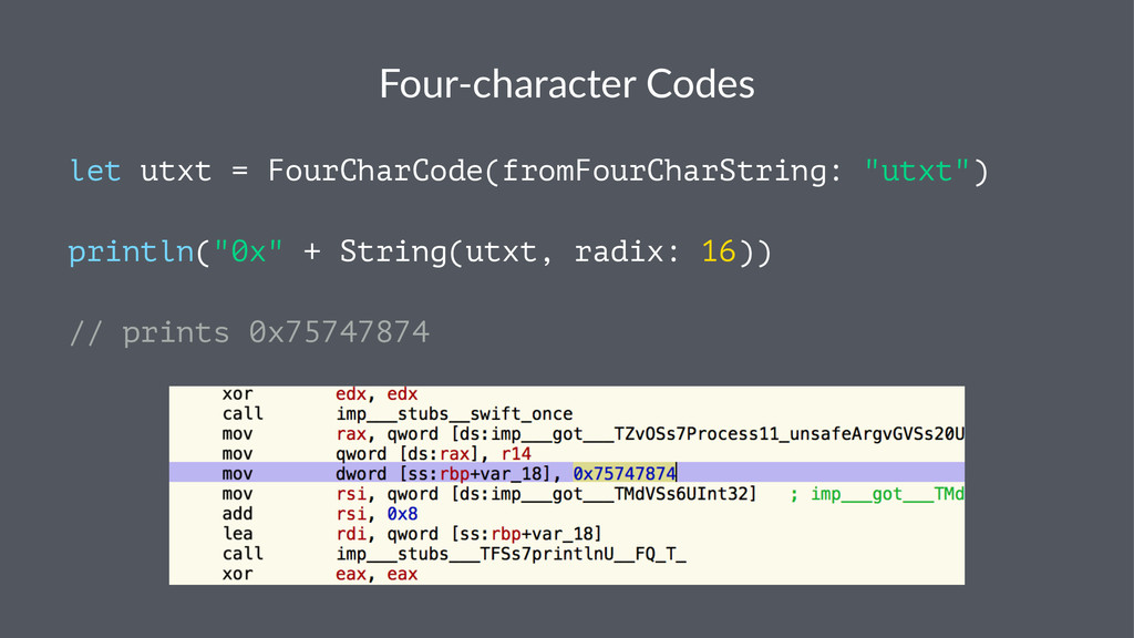 Four%character+Codes let utxt = FourCharCode(fr...