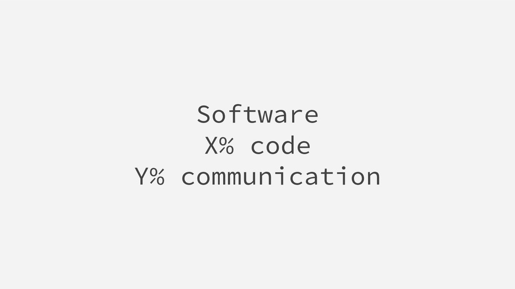 Software X% code Y% communication