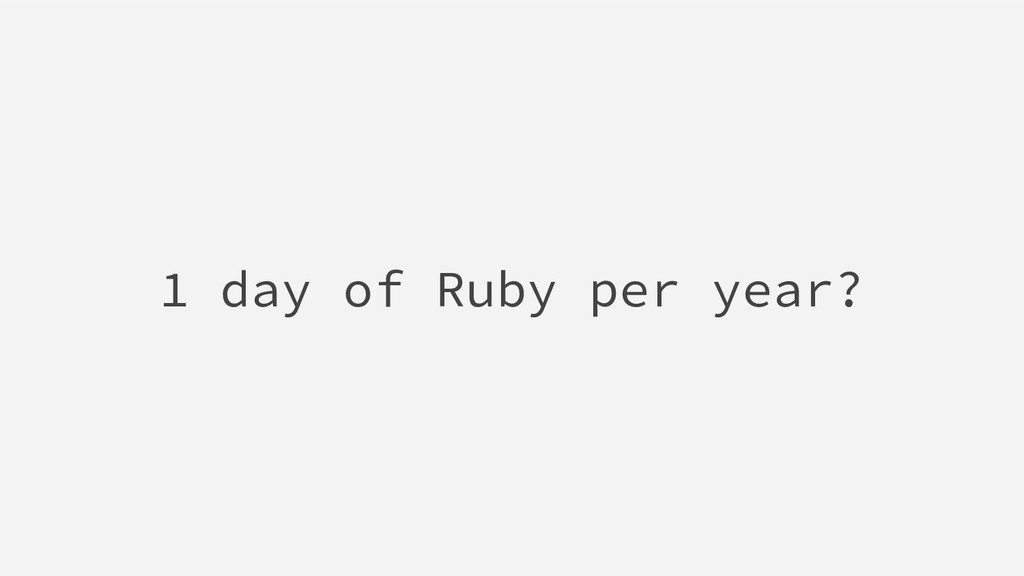 1 day of Ruby per year?