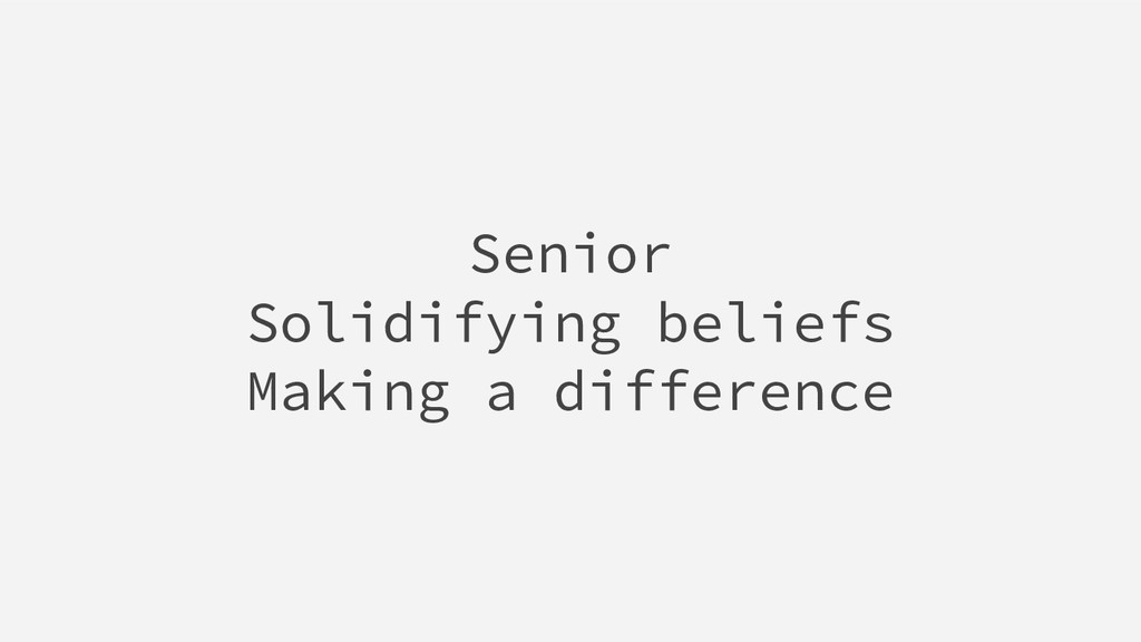 Senior Solidifying beliefs Making a difference