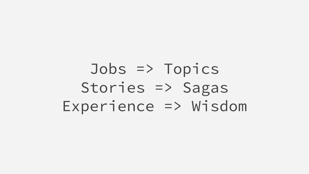 Jobs => Topics Stories => Sagas Experience => W...