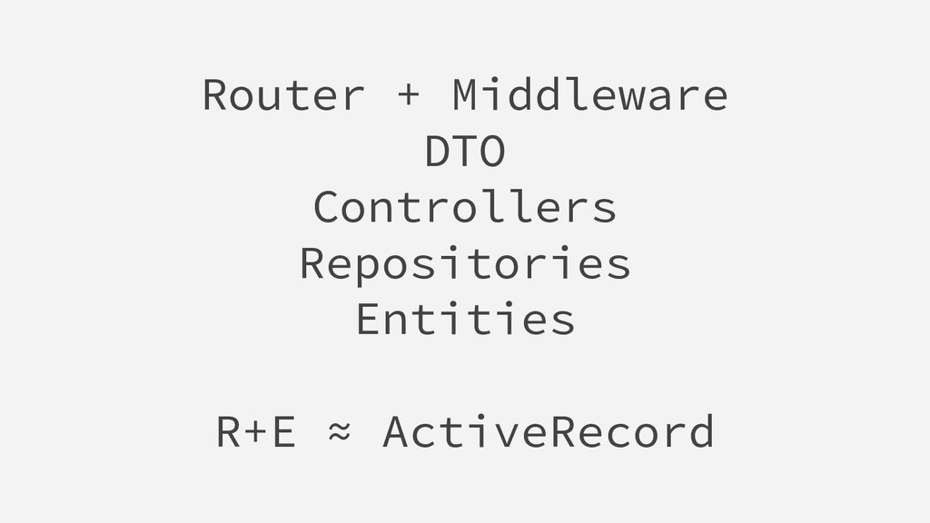 Router + Middleware DTO Controllers Repositorie...